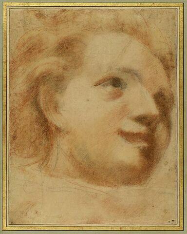 Tête de jeune garçon, vue de trois quarts et tournée vers la droite