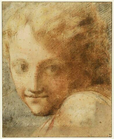 Tête de jeune garçon, de face, et naissance de l'épaule de profil