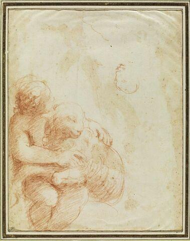 Un putto portant un agneau dans les bras