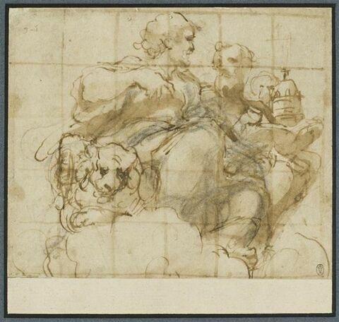 Saint Marc et saint Grégoire assis sur les nuages