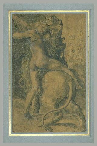 Jeune homme ailé maitrisant un lion