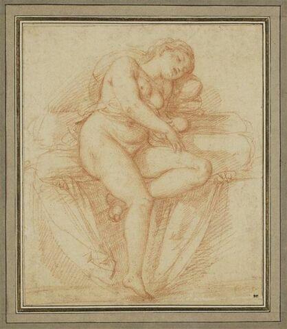 Femme nue, assise, endormie, vue de face