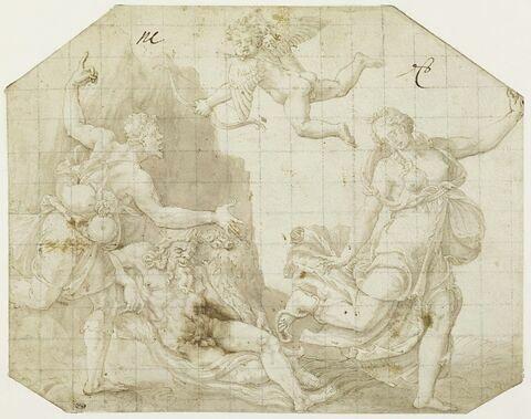 Eurydice piquée par un serpent s'enfuit devant Aristée