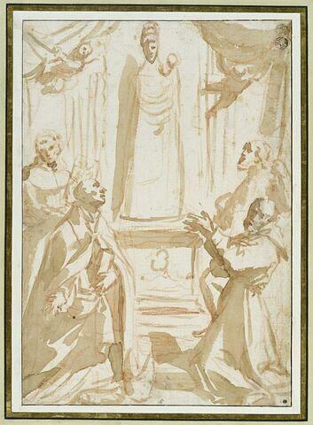 Quatre religieux adorant la statue de la Vierge à l'Enfant