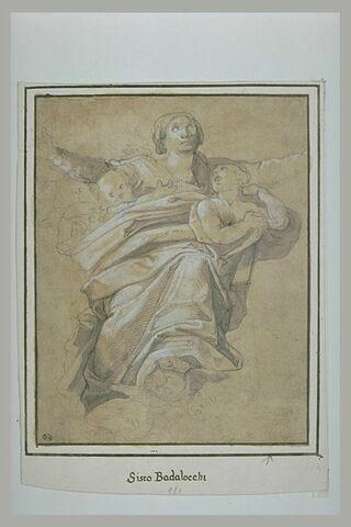 La Vierge sur des nuages portée par des anges