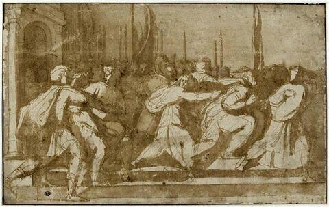 Figures d'hommes et de femmes : l'enlèvement des Sabines (?)