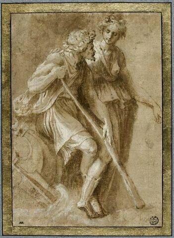 Homme assis, appuyé sur un bâton, et femme debout