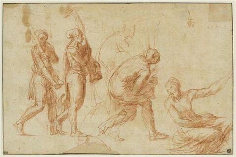 Trois hommes portant des candélabres et esquisse d'un quatrième ; un autre homme assis tourné de trois quarts vers la gauche ; motif de grecque