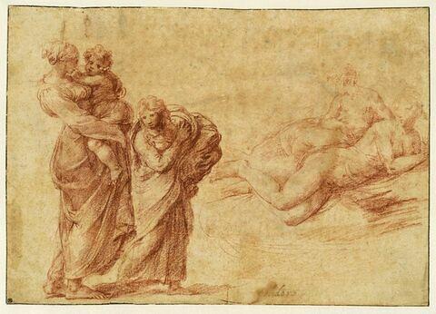 Femme et enfant, avec une petite fille ; deux femmes nues allongées