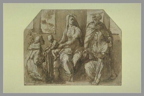 Vierge à l'Enfant, saint Antoine de Padoue, saint Pierre Martyr, une sainte