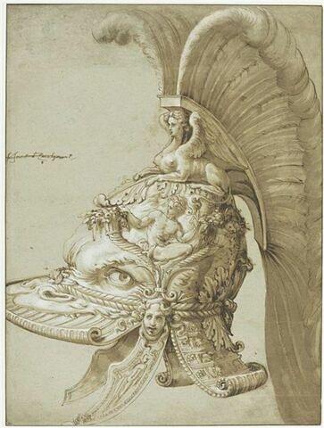 Etude de casque orné, avec cimier