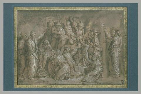 Moïse ordonnant la recolte de la manne ; Moïse frappant le rocher