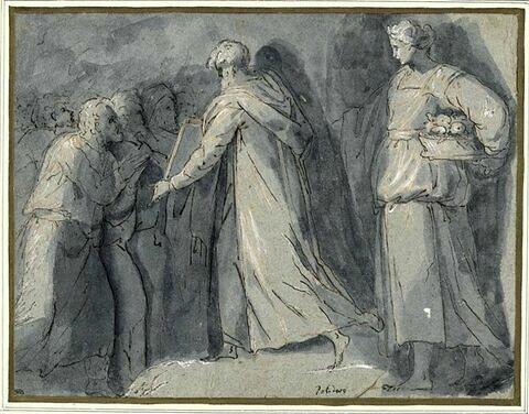 Moïse montrant les Tables de la Loi et femme portant un panier de fruits