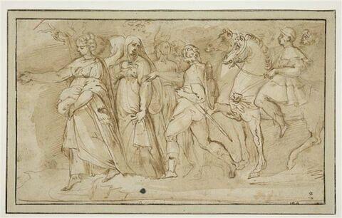 Femmes en robes longues suivies par des hommes armés et des cavaliers