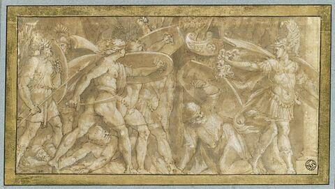 Persée pétrifiant Phinée et ses soldats avec la tête de Méduse