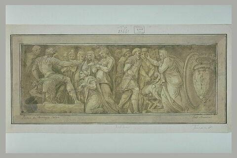 La continence de Scipion (ou La famille de Darius devant Alexandre ?) ; prisonniers amenés devant un magistrat ; vase