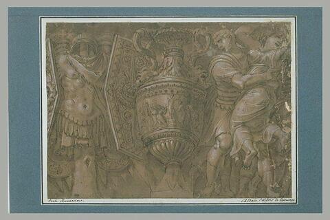 Trophée, vase, romain enlevant une Sabine