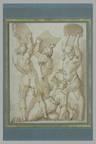 Tarpéia assommée à coups de bouclier par les soldats de Tatius