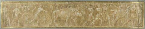 Armes et vases sur des chars trainés par des boeufs et des chevaux