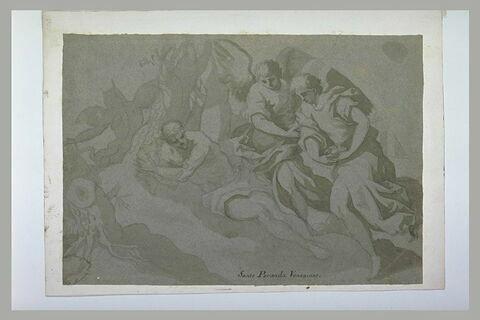 Un saint ermite couché dans une grotte et secouru par des anges