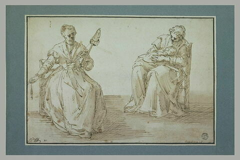 Deux femmes assises, l'une filant, l'autre tenant un enfant sur ses genoux
