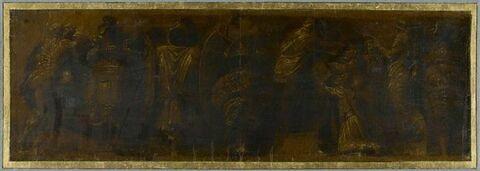 Détail de l'Enlèvement des Sabines ; trophée ; Lycurgue et Numa