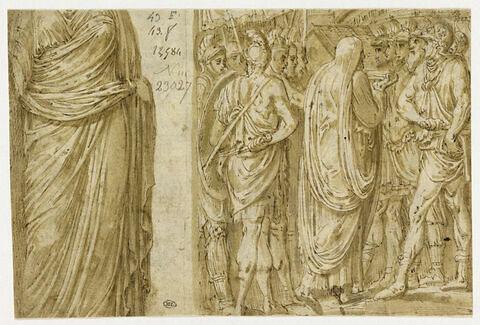 Statue antique drapée ; un prêtre portant une cassette, parmi des soldats
