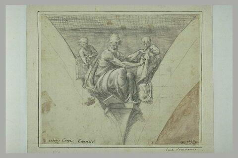Un prophète assis et deux anges à ses côtés, dans un pendentif
