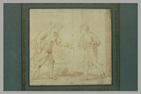 Rencontre de deux jeunes mendiants, Jacob et Esaü (?)