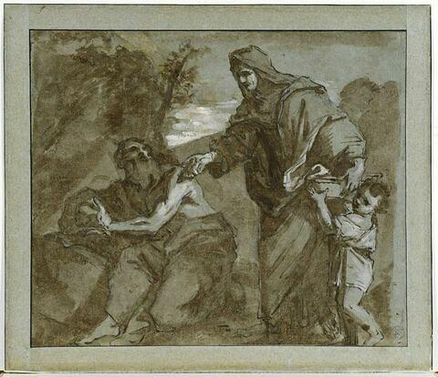 La veuve de Sarepta apporte du pain au prophète Elie