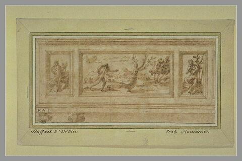 Frise :  Apollon poursuivant Daphné entre Apollon et Marsyas