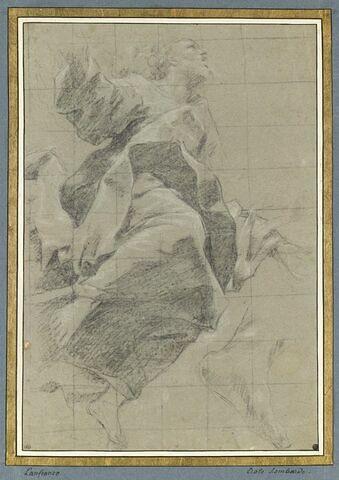 Figure drapée dans les airs, de profil, bras ouverts, tournée à gauche