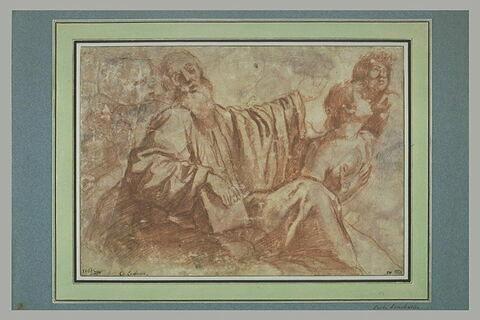 Vieillard assis, tenant un livre, parlant à un jeune homme