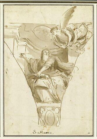 Saint Matthieu assis se retournant vers un ange qui plane à sa gauche