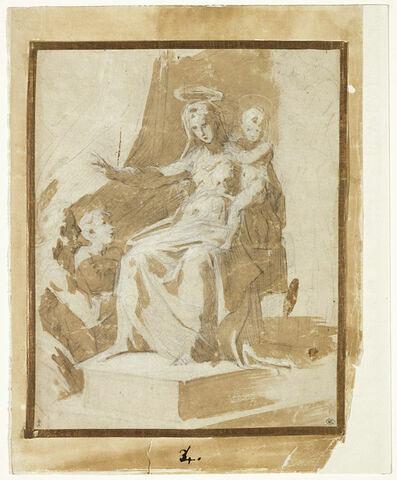 La Vierge à l'Enfant bénissant deux hommes agenouillés, esquisse d'une troisième figure à droite