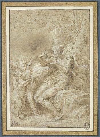 Saint Jean-Baptiste assis dans le désert, tourné vers la gauche devant un ange tenant l'agneau