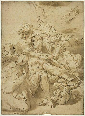Le Christ mort, soutenu par Joseph d'Arimathie, entouré par les anges et pleuré par la Vierge ; étude de la main droite de la Vierge (?)