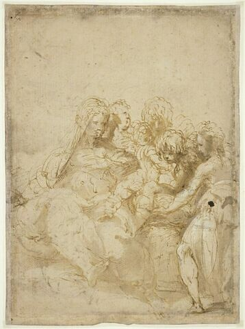 La Vierge à l'Enfant, le petit saint Jean et trois anges