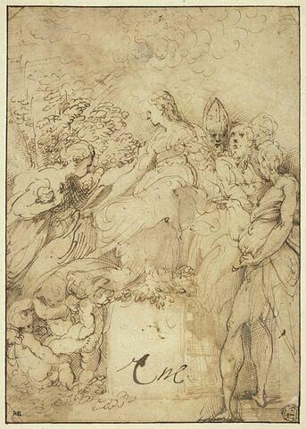 La Vierge en trône, quatre saints, une sainte et des anges