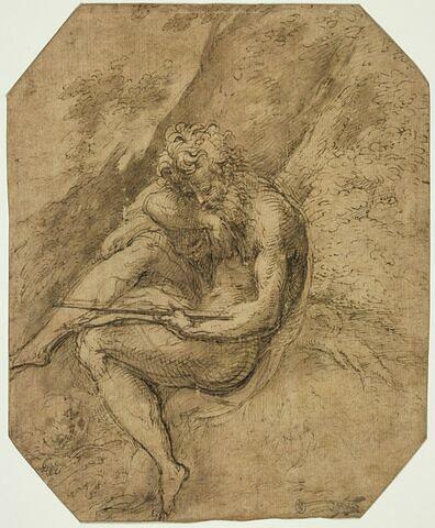 Saint Jérôme assis contre le tronc d'un arbre