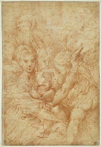 La Sainte Famille avec deux anges et un vieil homme