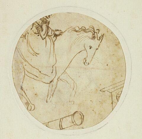 Etude fragmentaire d'une femme à cheval, et de deux objets