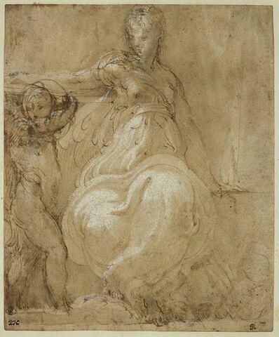Femme demi nue assise, avec un putto