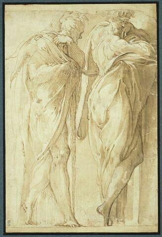 Deux hommes debout drapés, tournés vers la droite