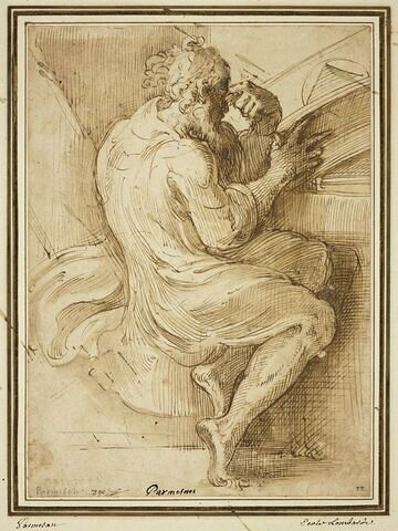 Philosophe assis, réfléchissant