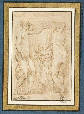 Deux femmes nues, l'une versant le contenu d'un vase sur l'Amour