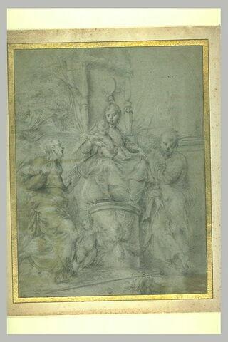 Saint Jean-Baptiste et saint Jacques adorant la Vierge à l'Enfant trônant