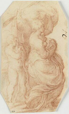 Femme à demi nue, assise, de profil, avec un enfant debout derrière elle