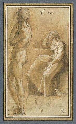 Homme nu, de profil à gauche, femme assise, la tête appuyée sur le coude