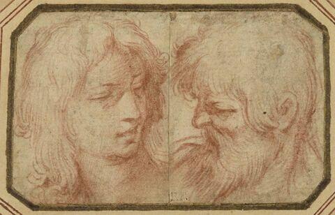 Tête de jeune homme, et tête d'homme barbu